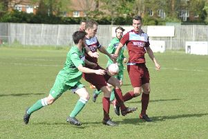 Action from Little Common's final game of the 2018/19 season, a 1-0 win at home to Crawley Down Gatwick. Picture by Simon Newstead