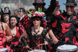 Section 5 Drummers performing at St Leonards Festival SUS-180529-145739001