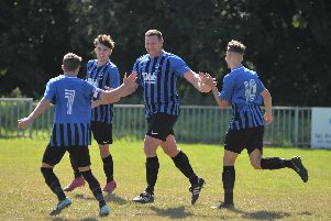 Hollington United celebrate the first goal