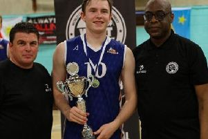 Paul Wilson of Ibaes Sports, the Wolfpack Captain, and World Club Basketball Tournament founder Eric Doughlin. Picture by Web Photo UK Photography