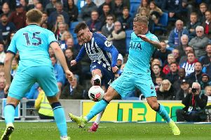 Aaron Connolly fires home a magnificent third goal during Brighton's 3-0 victory against Tottenham Hotspur.