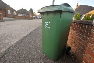 26/11/13- A green wheelie bin issued by Rother District Council for collecting garden refuse. SUS-151003-131721001