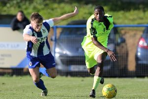 Lanre Azeez in action for Hastings United at Haywards Heath Townearlier in the season. Picture by Scott White