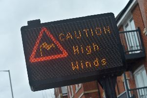 High wind warning sign