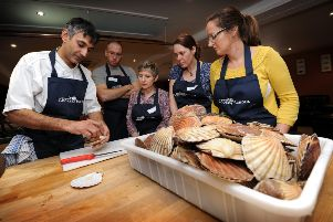 Scallop cookery class at Webbe's at the Fish Cafe, Rye. 15/2/11'Rye Scallop Festival 2011'Paul Webbe is pictured. ENGSNL00120110215131412