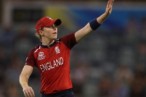 Heather Knight of England sets the field during the ICC Women's T20 Cricket World Cup match between England and South Africa at the WACA