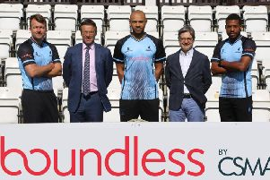 Sussex launched their brand new NatWest T20 Blast shirt this morning as the sponsorship deal with Boundless was officially signed.''From L-R: Chris Nash, Rob Andrew (CEO Sussex Cricket), Tymal Mills, Carl Fillery (CEO, Boundless), Chris Jordan