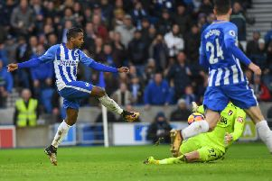 Jose Izquierdo is denied by Asmir Begovic. Picture by Phil Westlake (PW Sporting Photography)