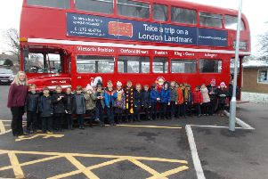 A vintage bus provided much excitement when it visited Upper Beeding Primary School.