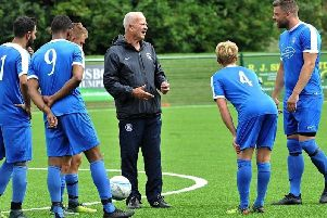 Shoreham Football Club manager Sammy Donnelly (centre). Picture by Stephen Goodger
