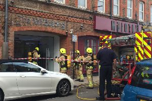 Fire crews outside The Mill Building in Chatsworth Road, Worthing