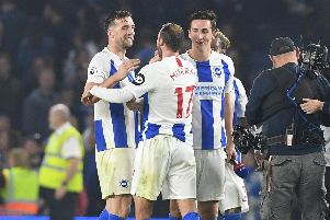Brighton & Hove Albion centre-back Shane Duffy and Lewis Dunk with Glenn Murray. Picture by PW Sporting Photography