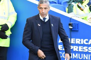 Brighton & Hove Albion manager Chris Hughton on the sidelines against Wolves. Pictures by PW Sporting Photography