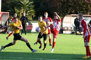 Action from Steyning Town's 1-0 win over Banstead Athletic in the FA Vase on Saturday. Picture by Derek Martin. dm18103970a