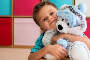 Seb with his CLIC Sargent teddy bear