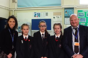 Fran David - teacher of food preparation and nutrition, Molly Walsh, Lottie Sale, Lauren Hills and Nick Wergan - headteacher at Steyning Grammar School SUS-181128-104450001