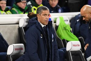 Brighton & Hove Albion manager Chris Hughton on the sidelines against Crystal Palace. Picture by PW Sporting Photography