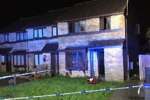The house has been taped off as a result of the fire