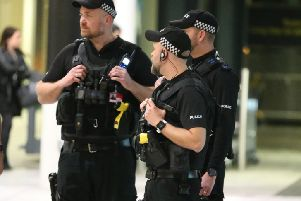 AArmed police at Gatwick Airport following the drone incident (photo by Eddie Mitchell)