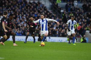 Davy Propper in action for Brighton against Everton. Picture by PW Sporting Photography.