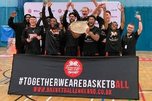 Worthing Thunder lift the National Trophy. Picture: Kyle Hemsley