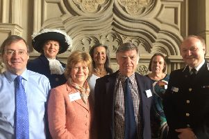 L-R: Harry Goring, High Sherrif of West Sussex Caroline Nicholls, Davina Irwin-Clark, Pip Goring, Sir Jeremy Cooke, Christine Laing QC and Giles York, Chief Constable of Sussex Police.