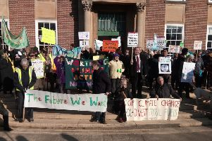 Campaigners outside County Hall on Friday