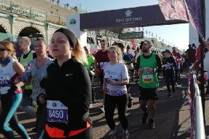 Ready, set, go! Runners set off from Madeira Drive at the Brighton Half Marathon start line