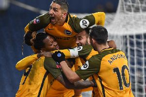 Albion celebrate after a Glenn Murray goal in the fourth round replay win at West Brom. Picture by PW Sporting Photography