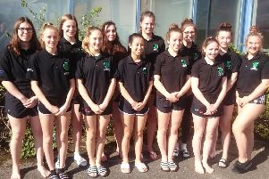 Worthing under-17s water polo squad. L-R, Evie Fawkes, Lottie Apps, Caitlin Silk, Fleuve Williams, Milly Mcalister, Audrey Tala, Maddie Calthrop, Grace Byford, Maisie Standen, Ruby Rosser, Hannah Wiles, Nicole Fawcett. Picture courtesy of Alastair Roberts.