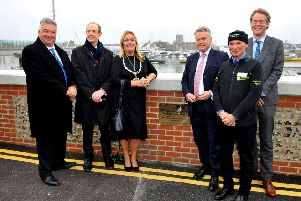 Unveiling of Shoreham Adur tidal walls flood defence scheme. Pic Steve Robards SR1907797