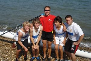 Garry Saunders, captain of the Shoreham Rowing Club, with some of the junior rowers