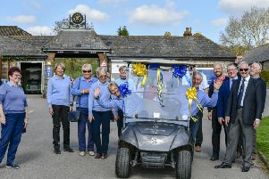 Worthing Golf Club's new captains make an entrance in their buggy