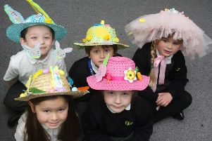 Hats made for the key stage one Easter bonnet parade at Glebe Primary School in Southwick. Photo by Derek Martin DM1940729a