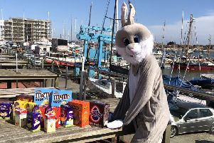 The Easter bunny has lots of chocolate treats to give away to children