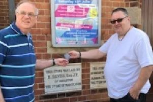 Patrick Marshall and Dave Carman outside Shoreham Methodist Church