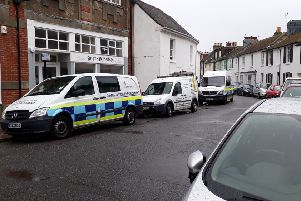 Immigration enforcement vehicles in New Road, Shoreham, on Monday (June 10)