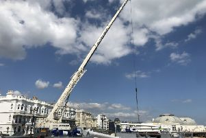 Work on the Worthing Observation Wheel has stepped up a gear this week. Picture: Eddie Mitchell.