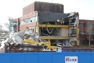 The old Adur Civic Centre being demolished back in 2017