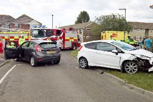 Two vehicles collided in Sompting