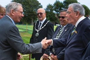 The Duke of Gloucester being presented to Quiller Barrett (President of The Croquet Association). Photo by Gerry Gavin
