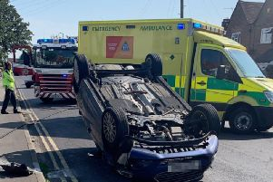 A car has rolled over in Shoreham
