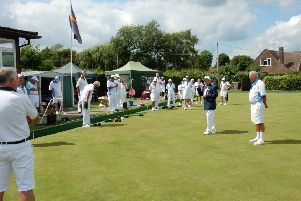 Steyning Bowls Club president, Reg Strong, welcoming the vice presidents' team to the charity day SUS-190708-143328001