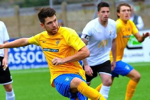 Lewis Finney netted twice in Lancing's FA Cup replay defeat. Picture by Stephen Goodger