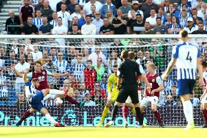 BRIGHTON, ENGLAND - SEPTEMBER 14: Neal Maupay of Brighton and Hove Albion scores his team's first goal during the Premier League match between Brighton & Hove Albion and Burnley FC at American Express Community Stadium on September 14, 2019 in Brighton, United Kingdom. (Photo by Dan Istitene/Getty Images) SUS-190915-141055002