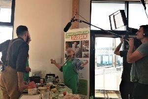 Filming the cookery workshop at Macmillan Horizon Centre in Brighton