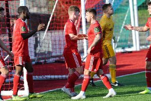 Worthing celebrate Marvin Armstrong's first goal