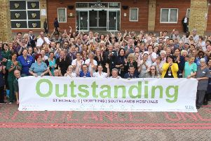Staff at Worthing Hospital celebrate their 'outstanding' achievement