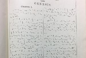 Part of Genesis chapter one written in Pitman shorthand