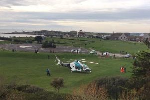 The air ambulance landed on East Green in Littlehampton. Picture: David Holmes